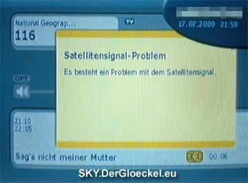 Bildschirmmitteilung: Satellitensignal-Problem