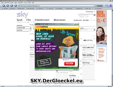 Aufdringlichkeit läßt grüßen - Pop-Up Werbung unter sky.at vom 11.7.2009