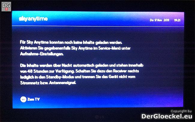 Systemfehler bei SKY-Anytime | Foto: DerGloeckel.eu